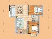 成邦华夏公馆B户型2室2厅1卫1阳台84.64㎡