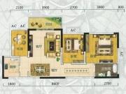 翰林世家禧园J户型3室2厅1卫1阳台99.04㎡