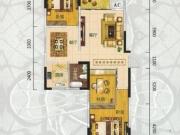 翰林世家禧园F户型3室2厅1卫1阳台105.9㎡