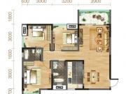 汉成天地B户型3室2厅2卫1阳台108.78㎡