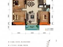 美珑公园B7户型3室2厅1卫1阳台 112㎡
