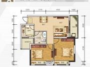 全兴广场A1户型2室2厅1卫1阳台83.67㎡
