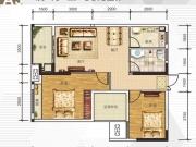 全兴广场A3户型2室2厅1卫1阳台90.82㎡