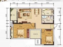 全兴广场A3户型2室2厅1卫1阳台 90.82㎡