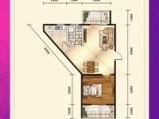 五堰新天地F3-1户型1室2厅1卫2阳台56.49㎡