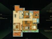 万达华府F2户型4室2厅2卫3阳台157.7㎡