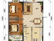 东岳尚城D户型2室2厅1卫90.14㎡