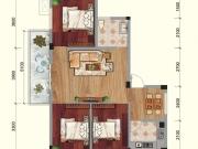 兴业花园C户型3室2厅1卫1阳台88.98㎡