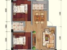 兴业花园D户型2室2厅1卫2阳台 75.47㎡