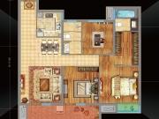 万达华府C户型3室2厅2卫120.29㎡