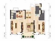 汉成时代A3户型3室2厅2卫1阳台110㎡