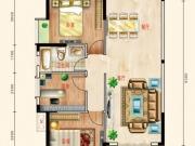 东风阳光城四期锦程世家Q户型3室2厅1卫2阳台113㎡