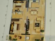 冠城美立方A户型2室2厅1卫1阳台83.89㎡