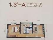 腾龙国际A户型1室1厅1卫52.13㎡