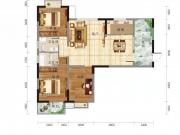 翔龙四方新城半山尚D户型3室2厅2卫129.23-134.51㎡