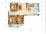 翔龙四方新城半山尚E户型3室2厅1卫122.98-128.78㎡