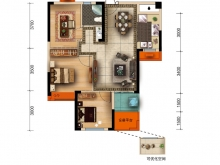大美盛城3期美珑公园A1户型3室2厅1卫1阳台 89.90㎡