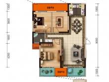 大美盛城3期美珑公园B5户型3室2厅1卫2阳台 118.94㎡