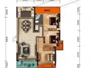 大美盛城3期美珑公园B6户型3室2厅1卫1阳台121.58㎡