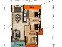 大美盛城3期美珑公园B6户型3室2厅1卫1阳台 121.58㎡