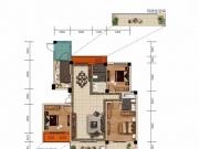 大美盛城3期美珑公园B02a户型3室2厅2卫3阳台132.44-145.47㎡