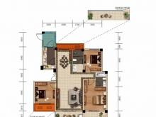 大美盛城3期美珑公园B02a户型3室2厅2卫3阳台 132.44-145.47㎡