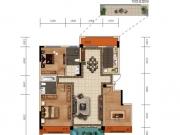 大美盛城3期美珑公园B01户型3室2厅2卫1阳台125.37-127.74㎡