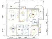 天麟时代广场B户型3室2厅2卫125.87㎡