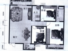 泰康花园B户型3室2厅2卫 121.00㎡