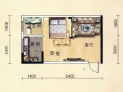 盛世广场J户型1室1厅1卫36.16㎡
