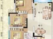 左岸风情雅苑A户型3室2厅1卫98.80㎡