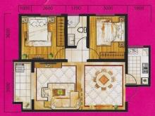 冠城美立方A户型2室2厅1卫 86.00㎡