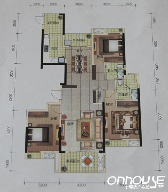 12号楼标准层b户型三室两厅两卫双阳台 建筑面积约:139.90㎡